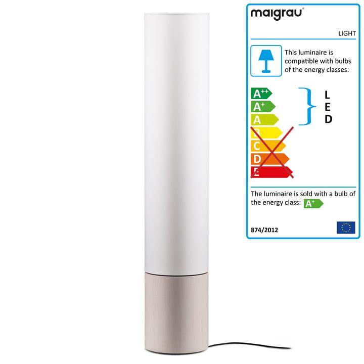 LIGHT 130 LED floor lamp, ash white, white from Maigrau