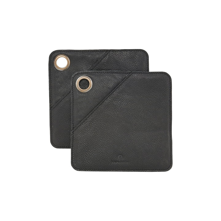 Square Leather Potholder, black (set of 2) by House Doctor