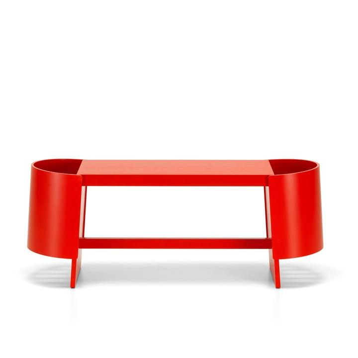 Kiulu bench A 118 x 36 cm by Artek in birch red lacquered