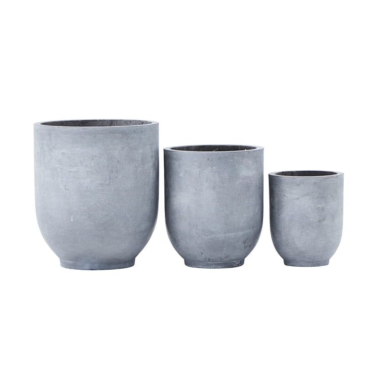 Gard Plant pots, light grey (set of 3) from House Doctor