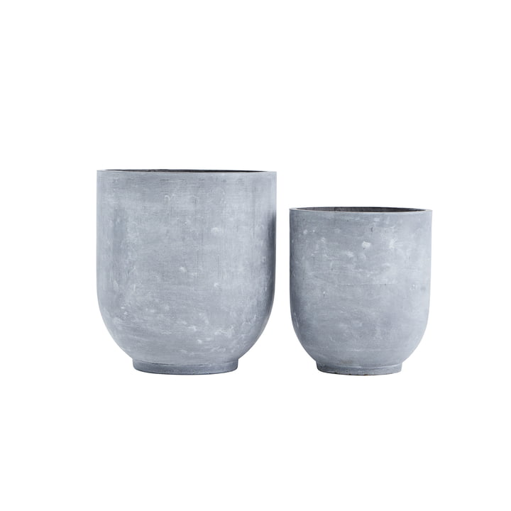 Gard plant pots, light grey (set of 2) by House Doctor