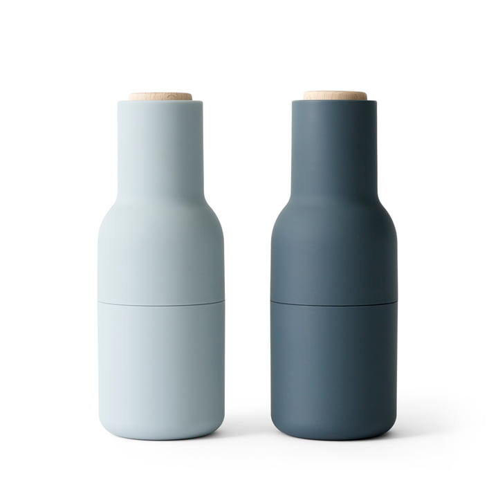 Bottle Salt and pepper mill set from Menu in blues (wooden lid)