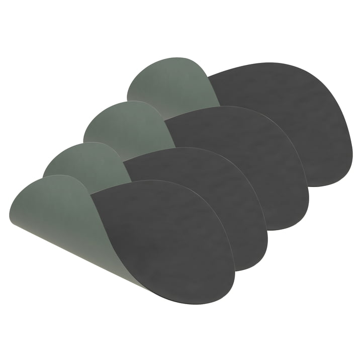 Place mat Curve L Double by LindDNA in Cloud anthracite / Nupo pastel green (set of 4)