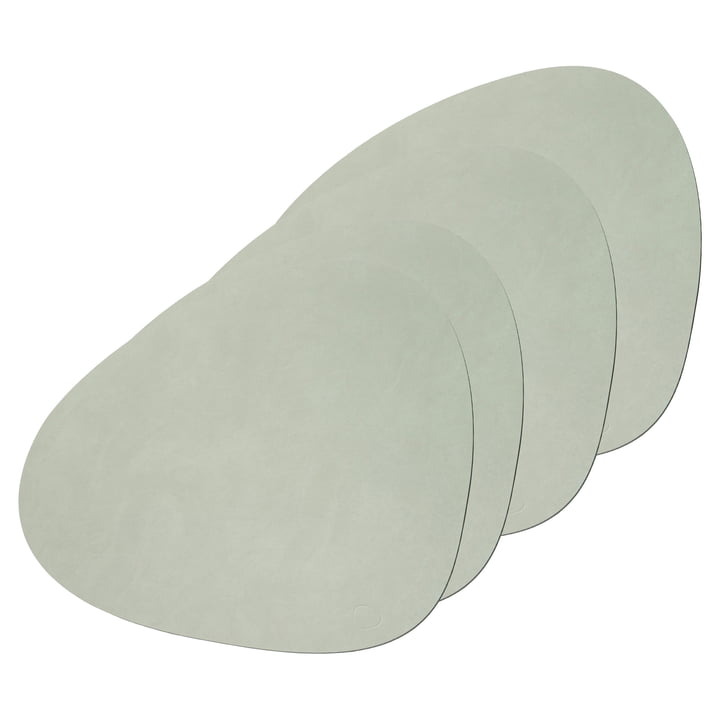 Place mat Curve L from LindDNA in Nupo olive green (set of 4)