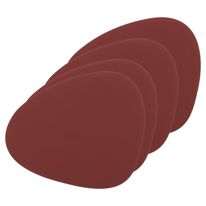 Place mat Curve L from LindDNA in Nupo red (set of 4)
