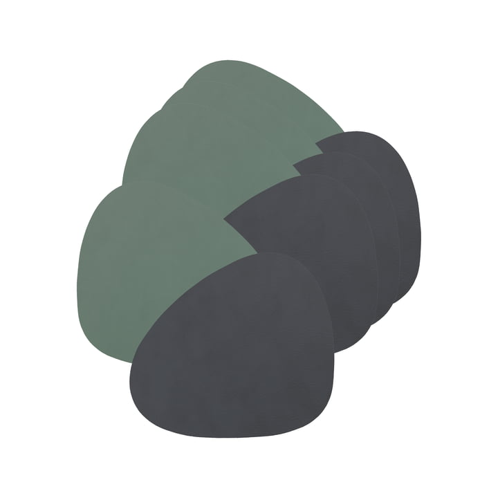Glass coasters Curve Double from LindDNA in cloud anthracite / Nupo pastel green (set of 4)