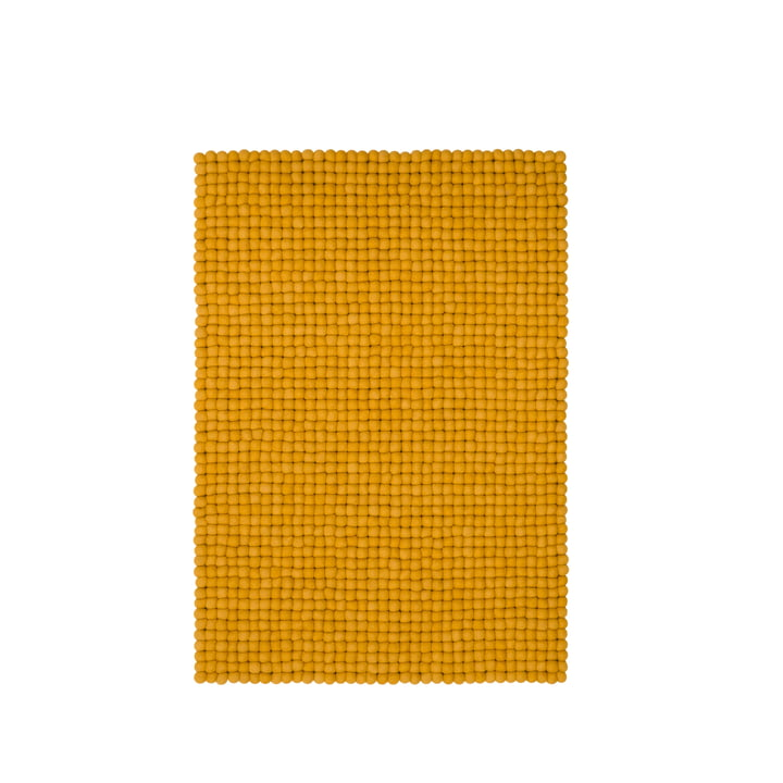 Klara felt ball carpet 70 × 100 cm by myfelt in mustard yellow