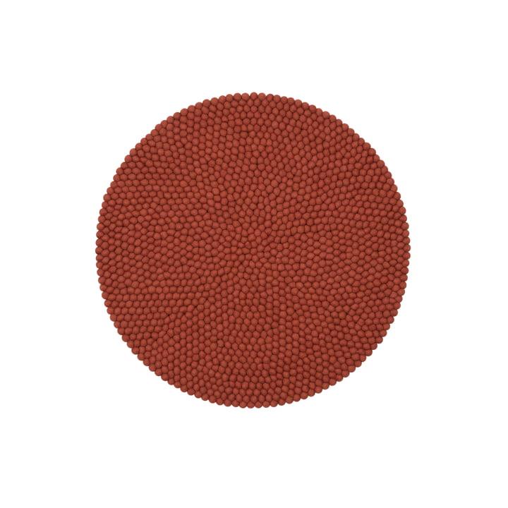 Lora felt ball carpet Ø 90 cm by myfelt in rust red