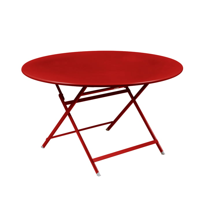 Caractére, folding table. Ø 128 cm, poppy red by Fermob