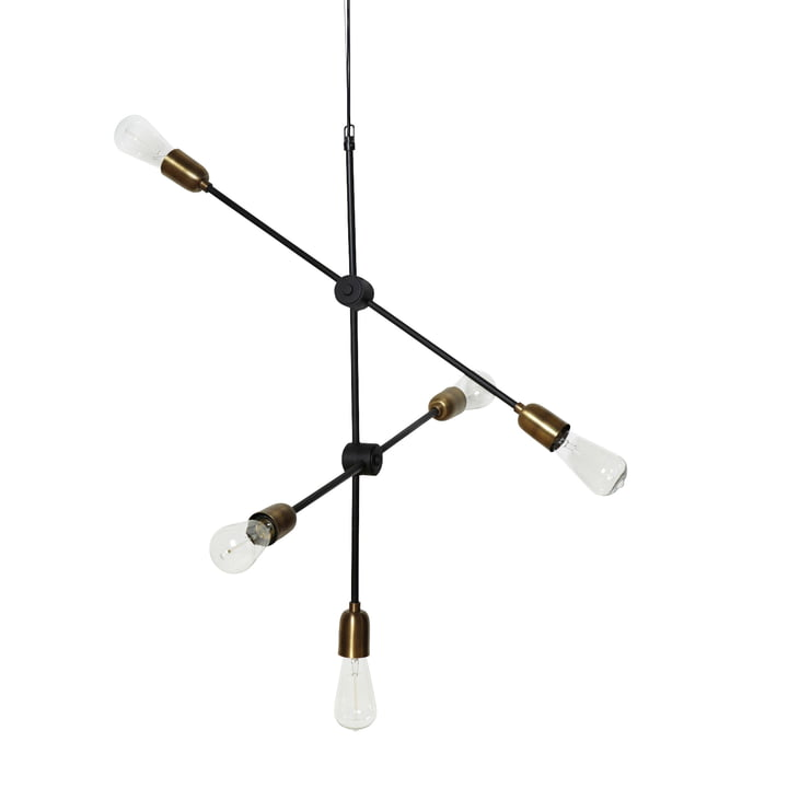 Molecular pendant lamp 5 illuminant from House Doctor in black / brass