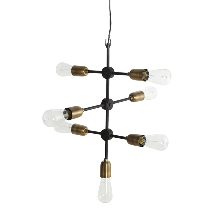 Molecular pendant lamp 7 illuminant from House Doctor in black / brass