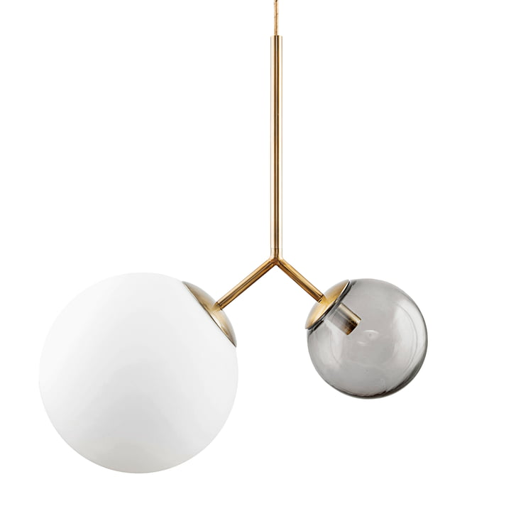 Twice pendant lamp by House Doctor in brass / white / gray