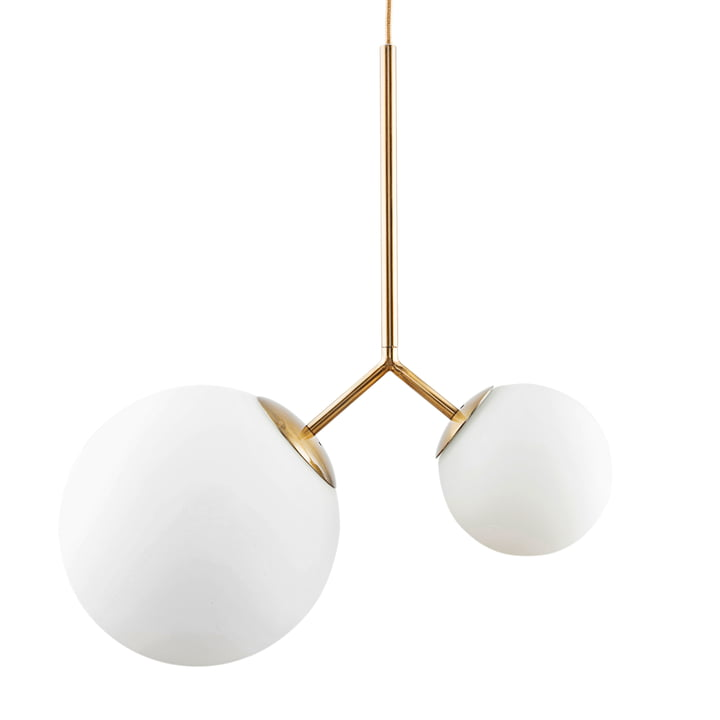 Twice pendant lamp by House Doctor in brass / white