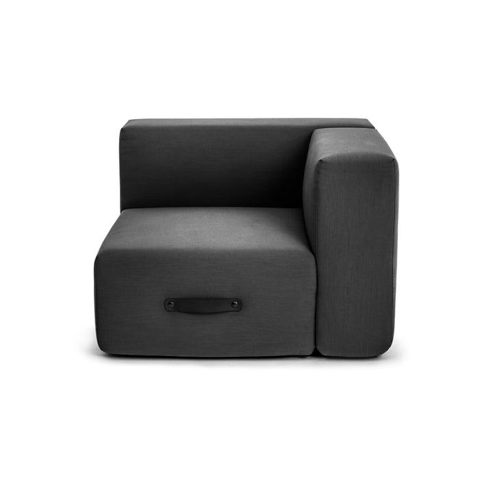 Miami outdoor sofa, corner module left, anthracite by Conmoto