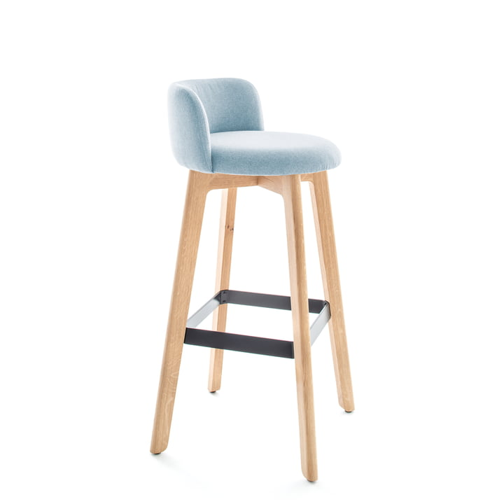 Chairman bar stool with backrest by Conmoto in natural oak / light blue