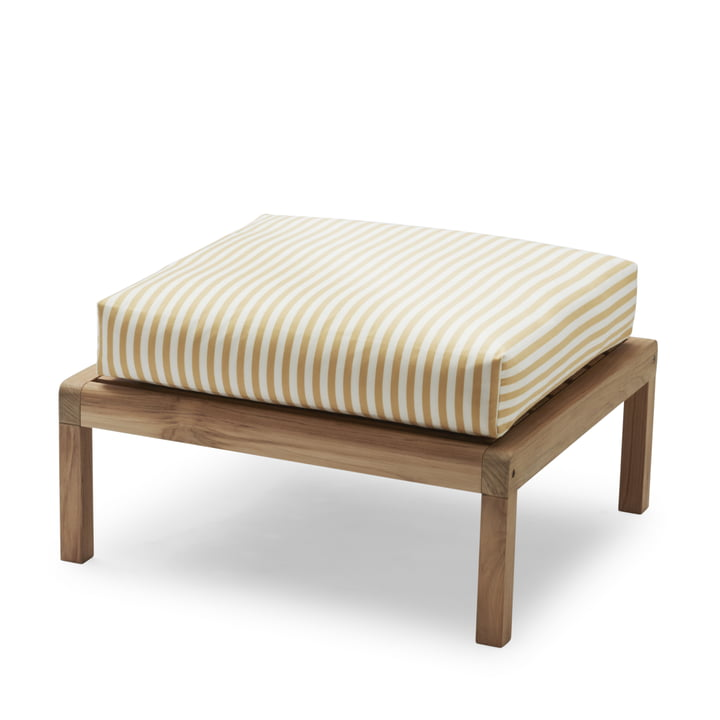 Virkelyst Pouf from Skagerak in teak / golden yellow striped (Limited Edition)
