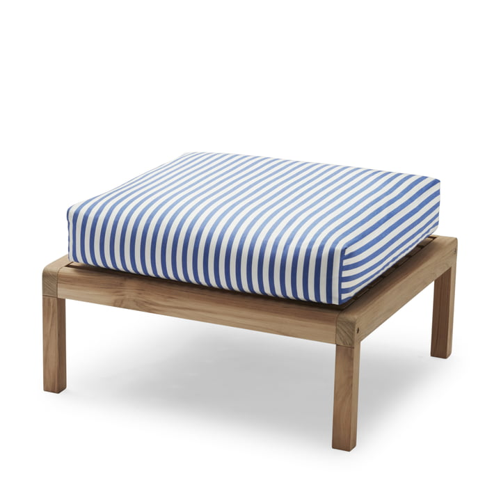 Virkelyst Pouf from Skagerak in teak / sea blue striped (Limited Edition)