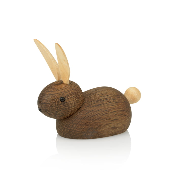 Lucie Kaas - Skjøde hare with pointed ear wooden figure, smoked oak / maple