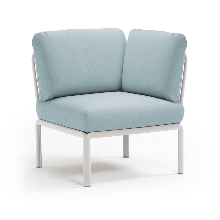 Komodo Module sofa corner element, white / ice blue from Nardi