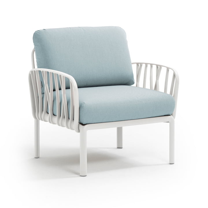 Komodo Poltrona Armchair, white / ice blue by Nardi