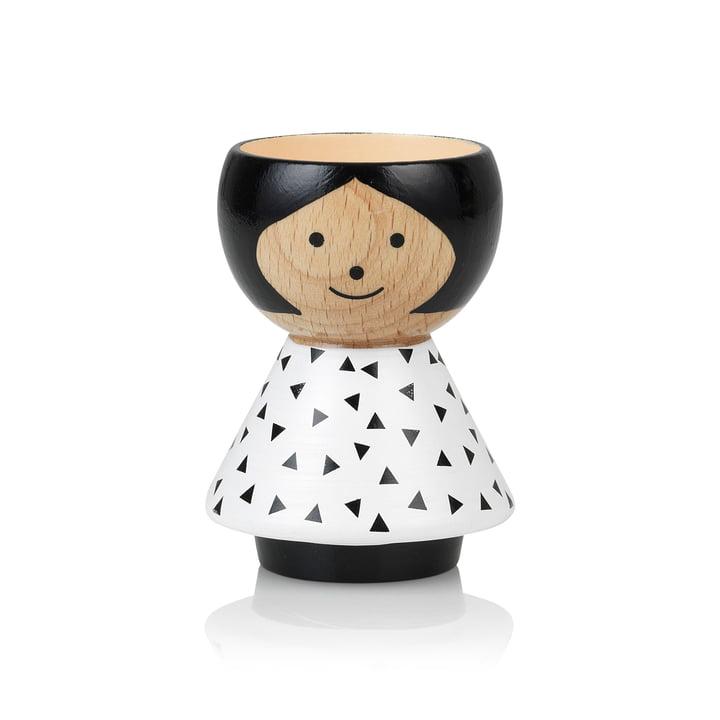 Bordfolk Egg cup girl triangle black by Lucie Kaas