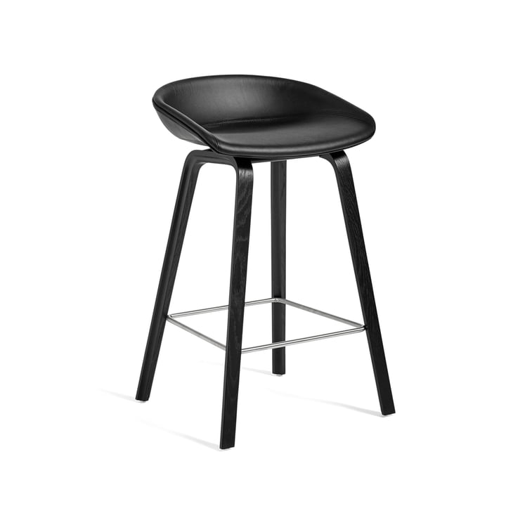 About A Stool AAS 33 H 75 cm from Hay in frame oak black (stained) / seat upholstery leather Sierra (SI1001)