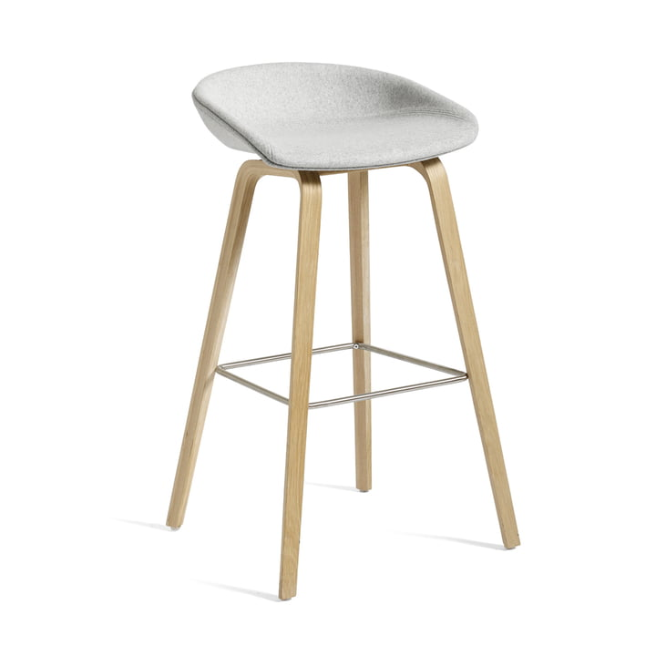 About A Stool AAS 33 H 85 cm by Hay in oak frame (soaped) / seat cushion Divina Melange 120