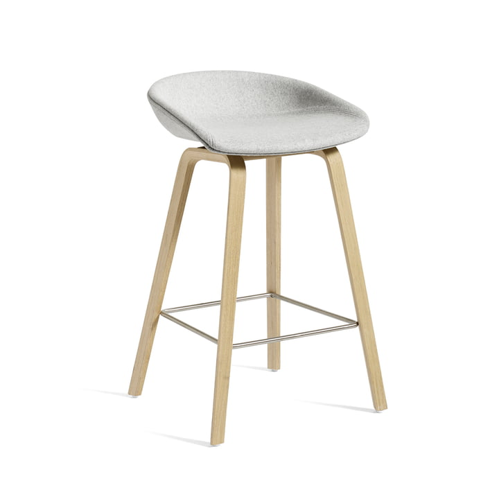 About A Stool AAS 33 H 75 cm by Hay in oak frame (soaped) / seat cushion Divina Melange 120