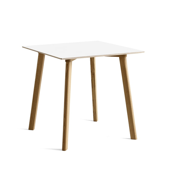 Copenhague CPH Deux 210 dining table 75 x 75 cm from Hay in oak matt lacquered / laminate pearl white