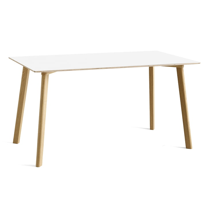 Copenhague CPH Deux 210 dining table 140 x 75 cm from Hay in oak matt lacquered / pearl white
