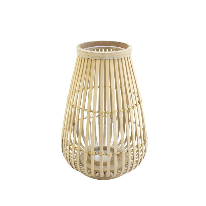 Bamboo lantern with glass insert in nature, 36 cm