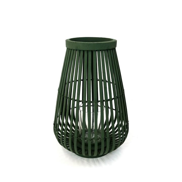 Bamboo lantern in dark green, 36 cm