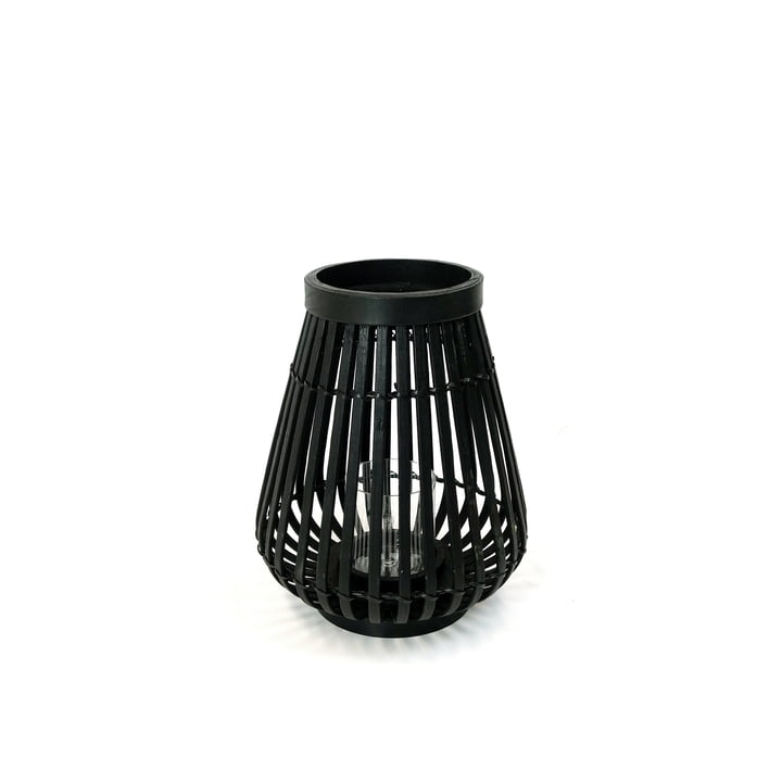 Bamboo lantern in black, 26 cm high