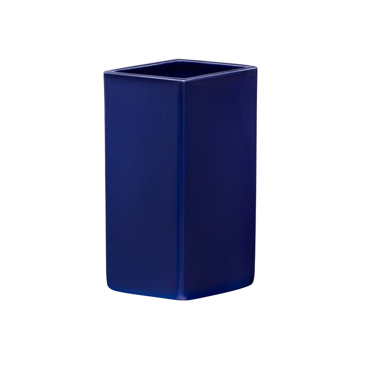 Ruutu ceramic vase 180 mm from Iittala in dark blue