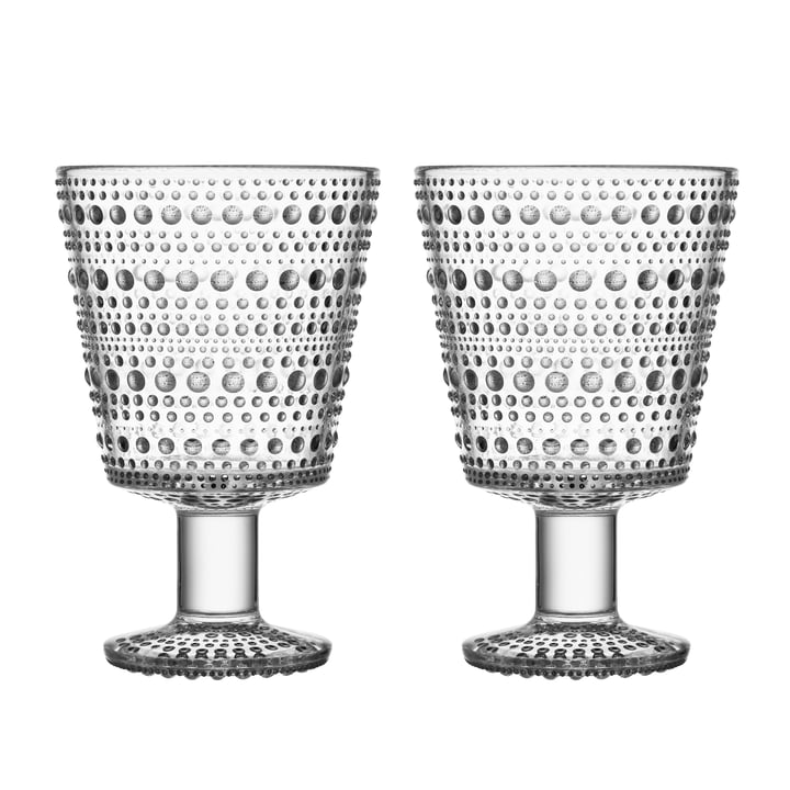 Kastehelmi Drinking glass with foot 26 cl from Iittala in clear (set of 2)