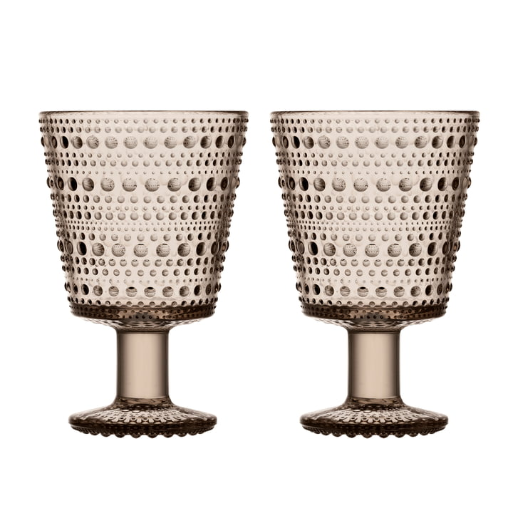 Kastehelmi Drinking glass with foot 26 cl from Iittala in linen (set of 2)