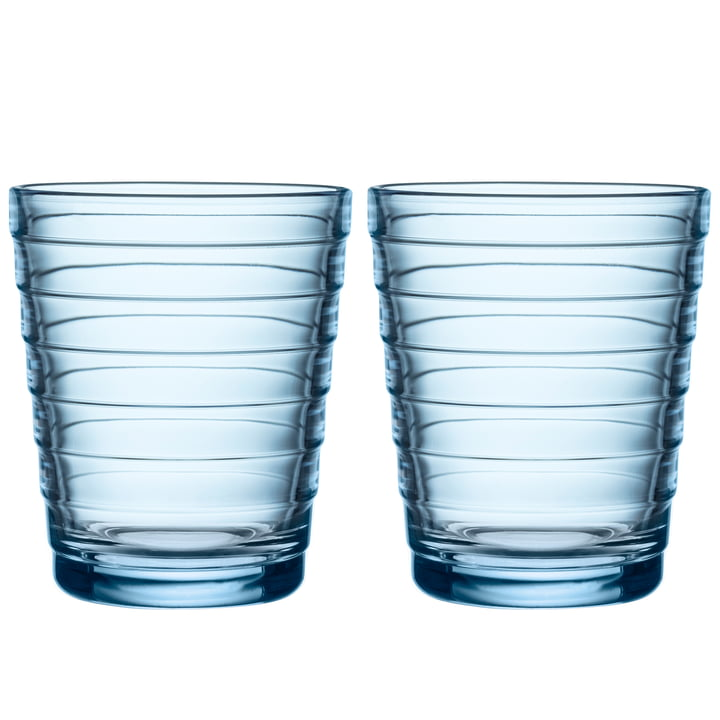 Aino Aalto Glass tumbler 22 cl from Iittala in aqua (set of 2)