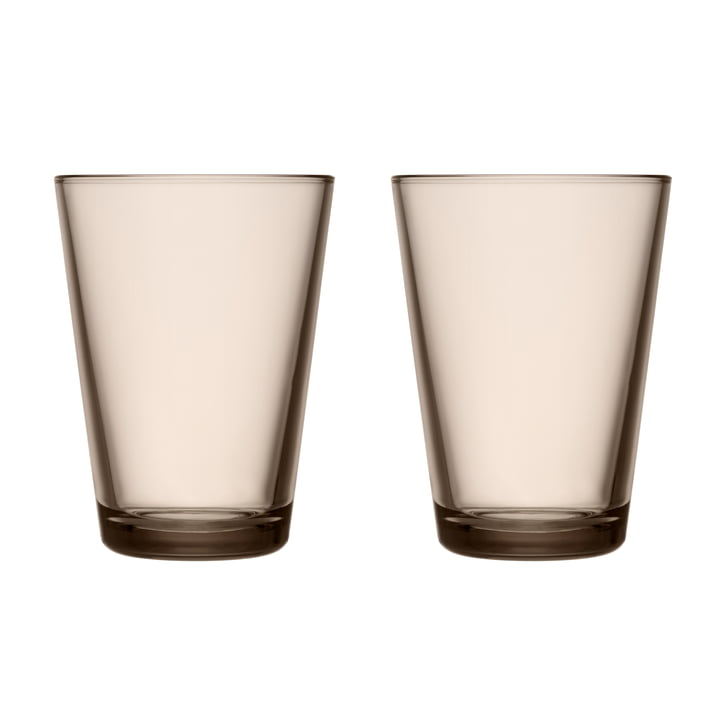 Kartio Drinking glass 40 cl from Iittala in linen (set of 2)