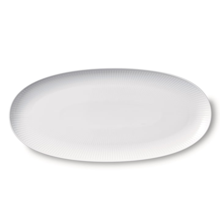 White Ribbed serving dish long oval 37 cm from Royal Copenhagen