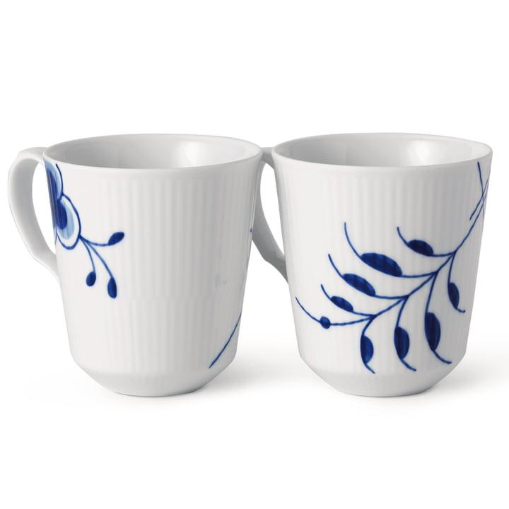 Mega Blue Ribbed Mug (set of 2), 37 cl (Limited Edition) from Royal Copenhagen