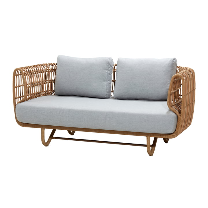 Nest 2-seater sofa outdoor, natural / light grey by Cane-line