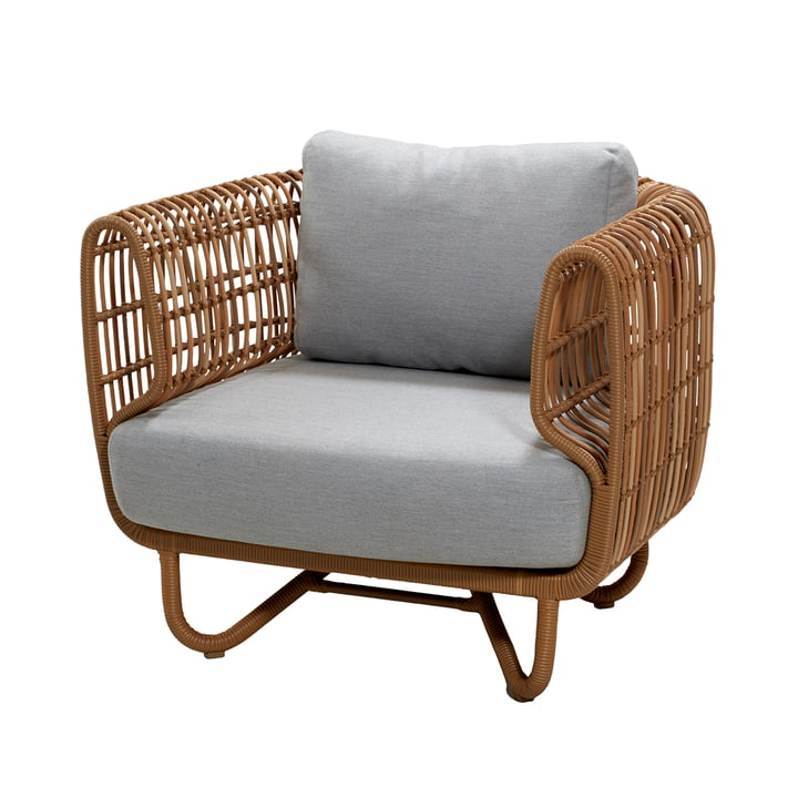 Nest lounge chair outdoor, natural / light grey by Cane-line