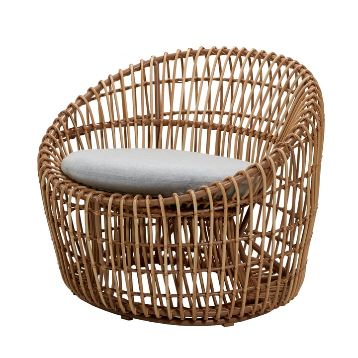 Nest Round Armchair Outdoor, natural / light grey by Cane-line
