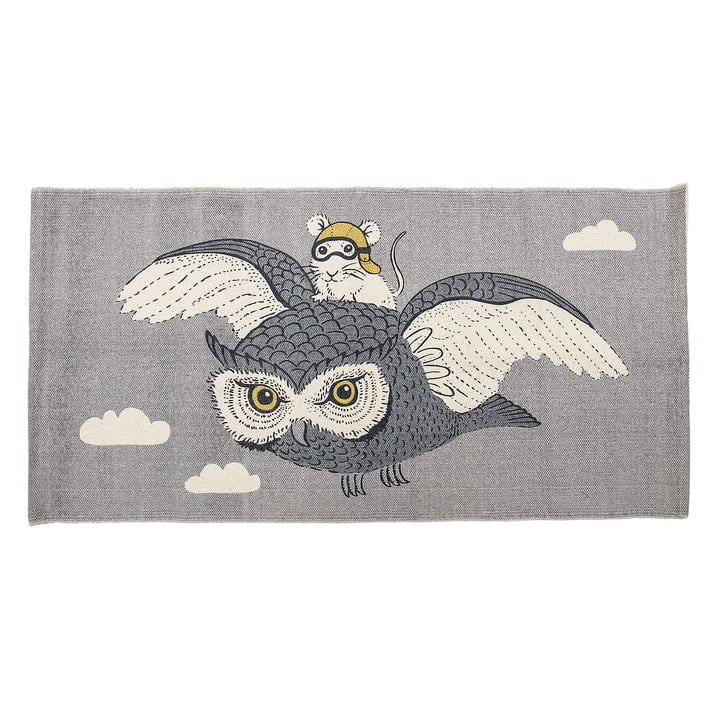 Bloomingville - Play rug owl and mouse, 120 x 60 cm, beige / grey