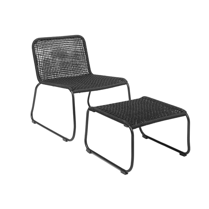 Mundo lounge chair with footstool from Bloomingville in black