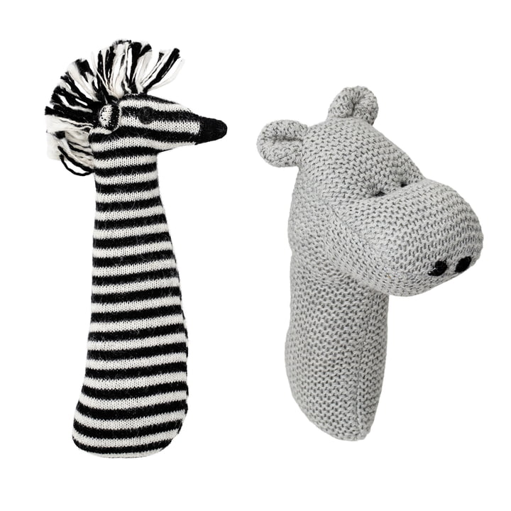 Rattle, set of 2 Zebra and Hippo from Bloomingville