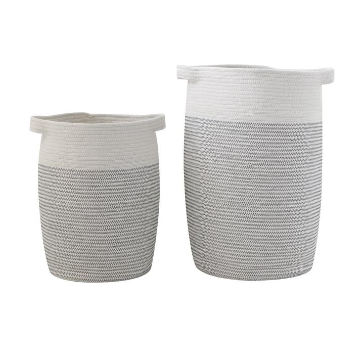 Cotton basket set of 2 Bloomingville in grey / white