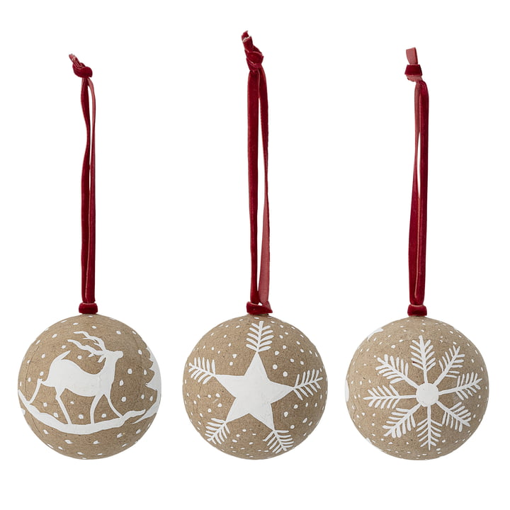 Christmas ornaments Ø 7.5, set of 3 by Bloomingville in brown / white