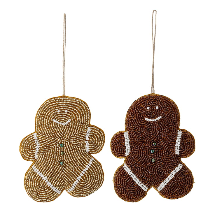 Christmas ornament gingerbread men set of 2 by Bloomingville in brown