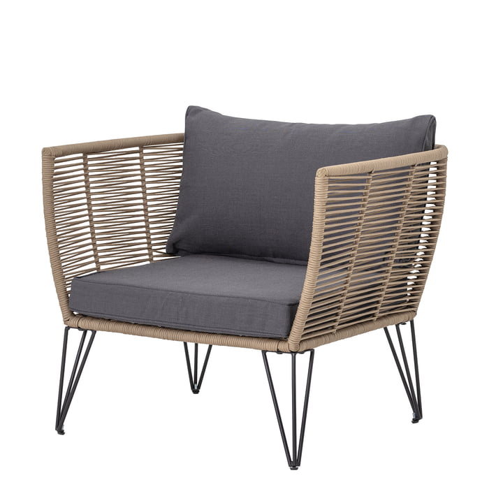 Mundo Lounge Chair with cushion Bloomingville in brown / grey